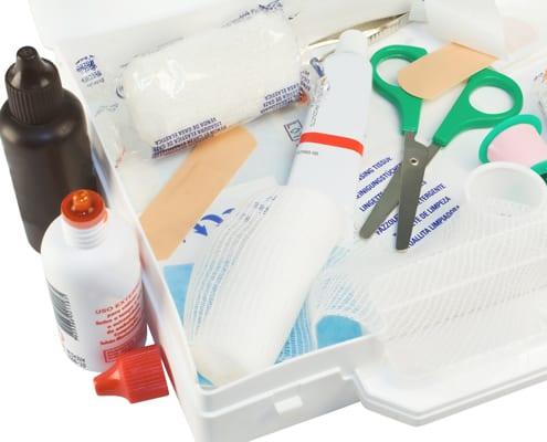 Paket mit kostenlosen Pflegehilfsmitteln
