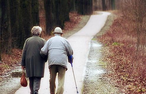 Senioren beim Waldspaziergang