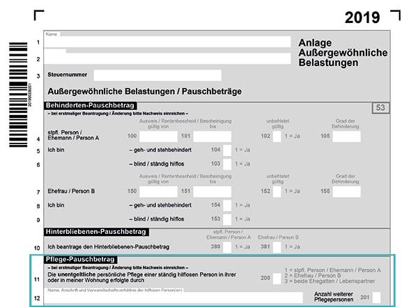 Einkommenssteuererklärung mit Anhang für den Pflegepauschalbetrag